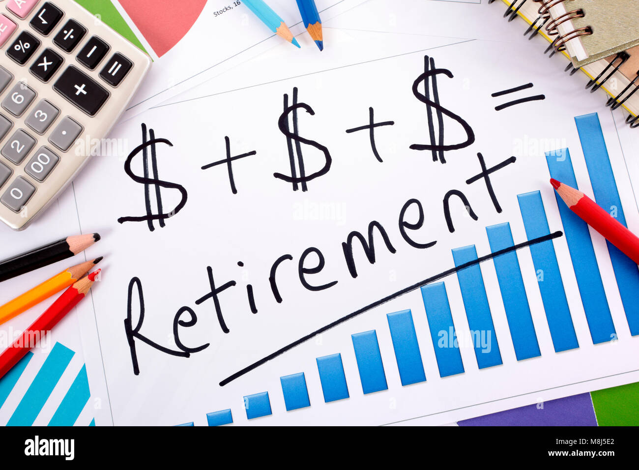 Simple retirement formula written on a bar graph surrounded by stock simple retirement formula written on a bar graph surrounded by calculator books and pencils ccuart Image collections