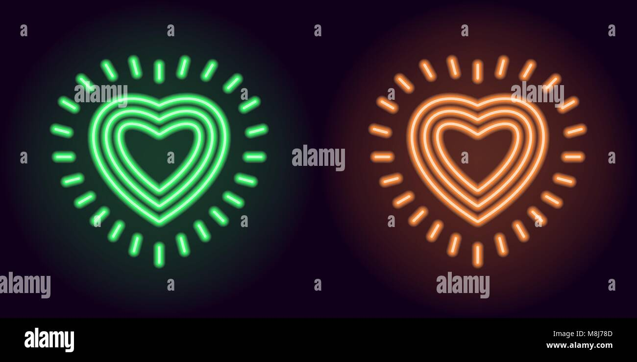 Green and orange neon heart with rays. Vector silhouette of neon heart consisting of three outlines and surrounded - Stock Image