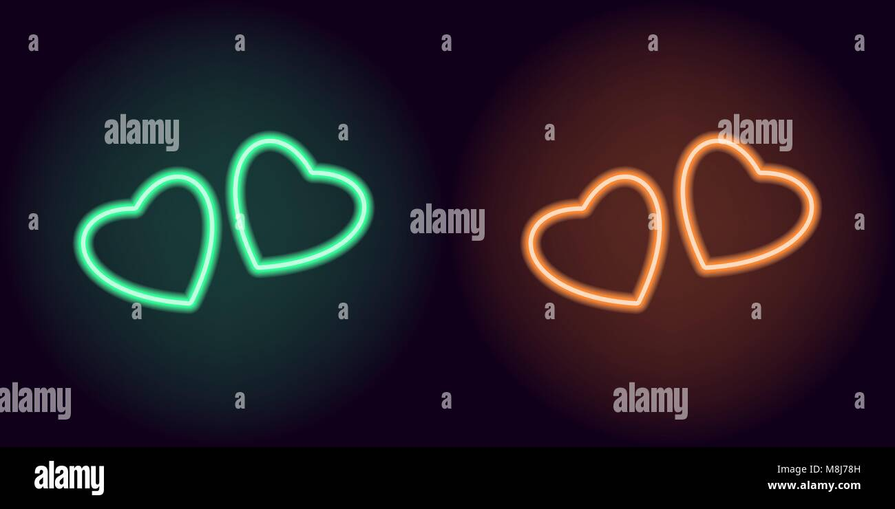 Green and orange neon pair of hearts. Vector silhouette of neon hearts consisting of outline, with backlight on - Stock Image