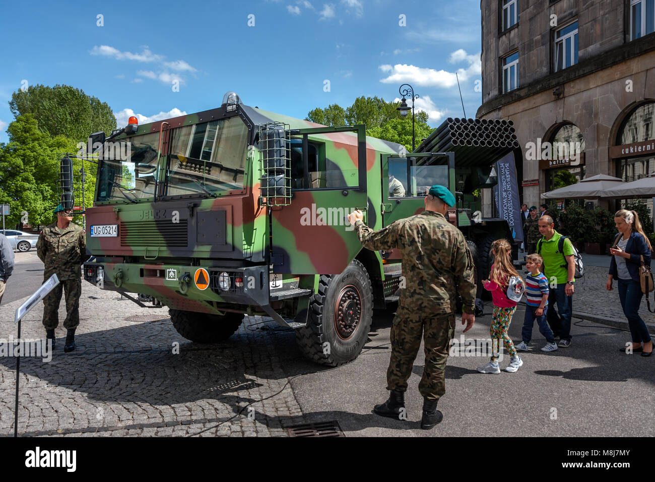 Rocket launcher Langusta, WR-40 Polish self-propelled MLRS. 70th Anniversary of End of World War II. WARSAW, POLAND - Stock Image