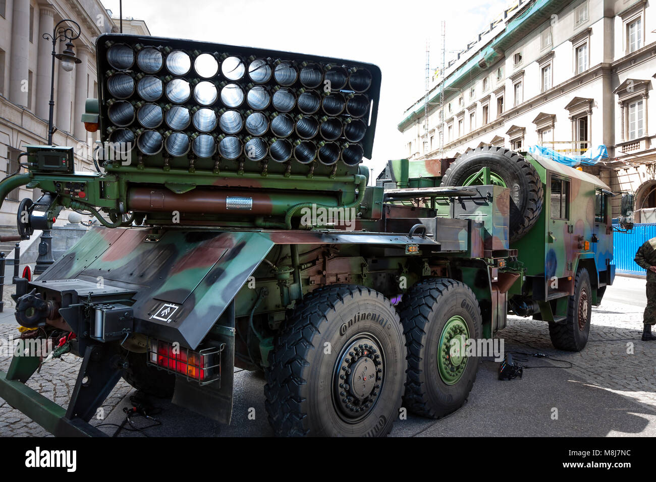 Polish Artillery, Langusta WR40 rocket launcher, 40 round launcher unit. 70th Anniversary of End of World War II. - Stock Image