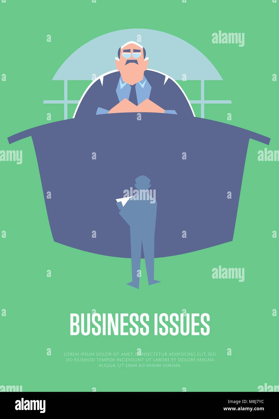Business issues banner with big boss - Stock Vector