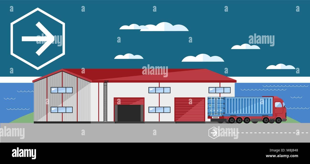 Warehouse exterior vector illustration - Stock Vector