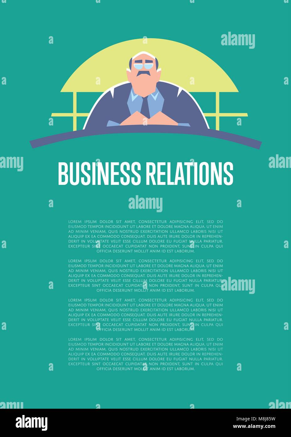 Business relations banner with big boss - Stock Vector