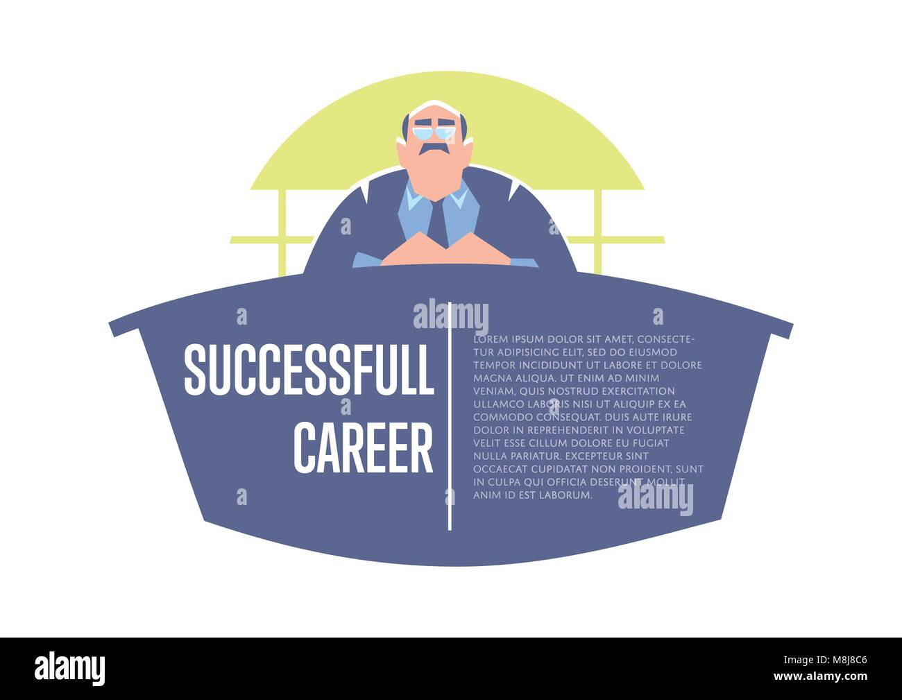 Successful career banner with big boss - Stock Vector