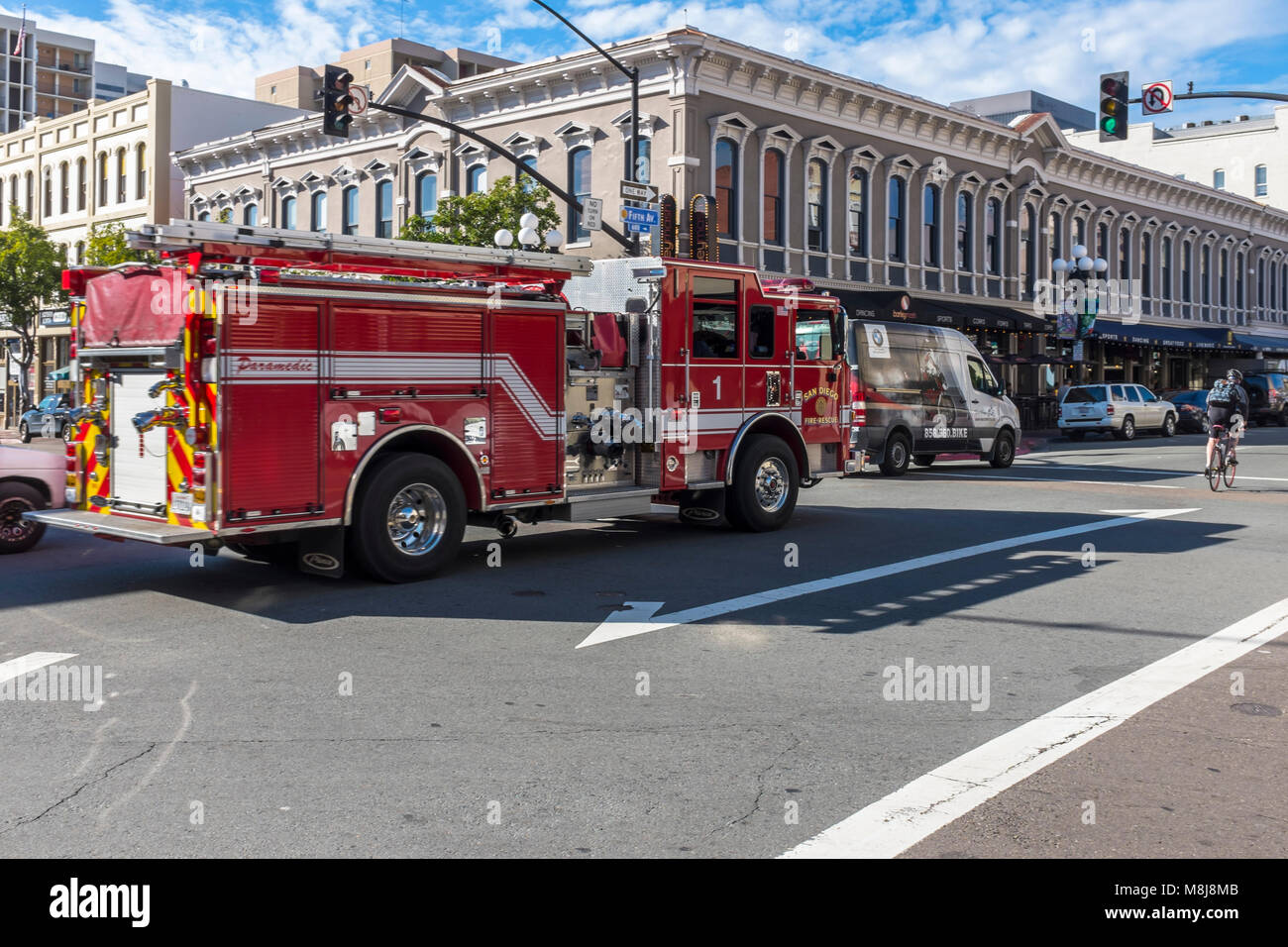 SAN DIEGO, CALIFORNIA, USA - Fire engine travelling down a