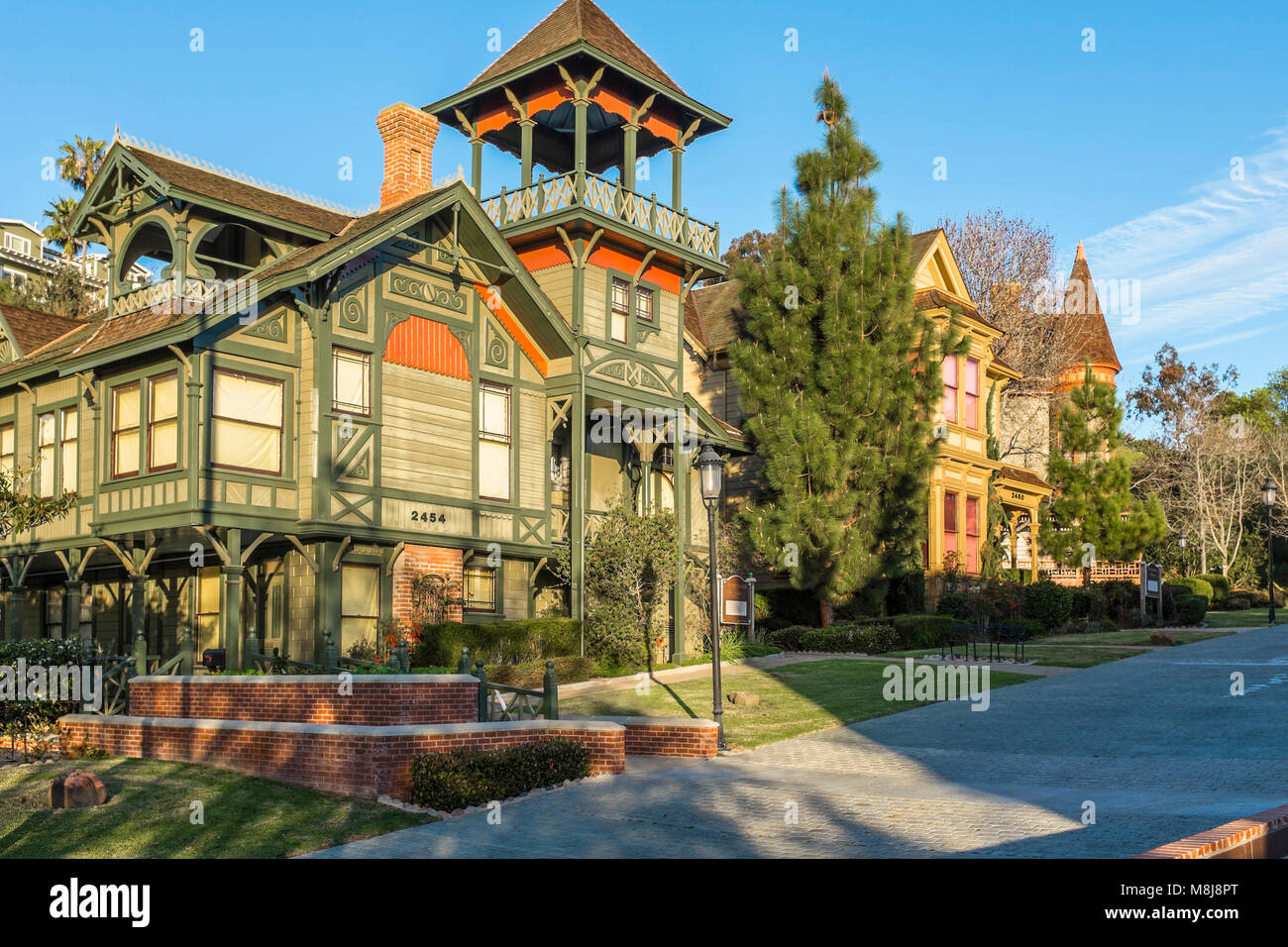 SAN DIEGO, CALIFORNIA, USA - Victorian architecture of Sherman Gilbert House in the historic Heritage County Park - Stock Image