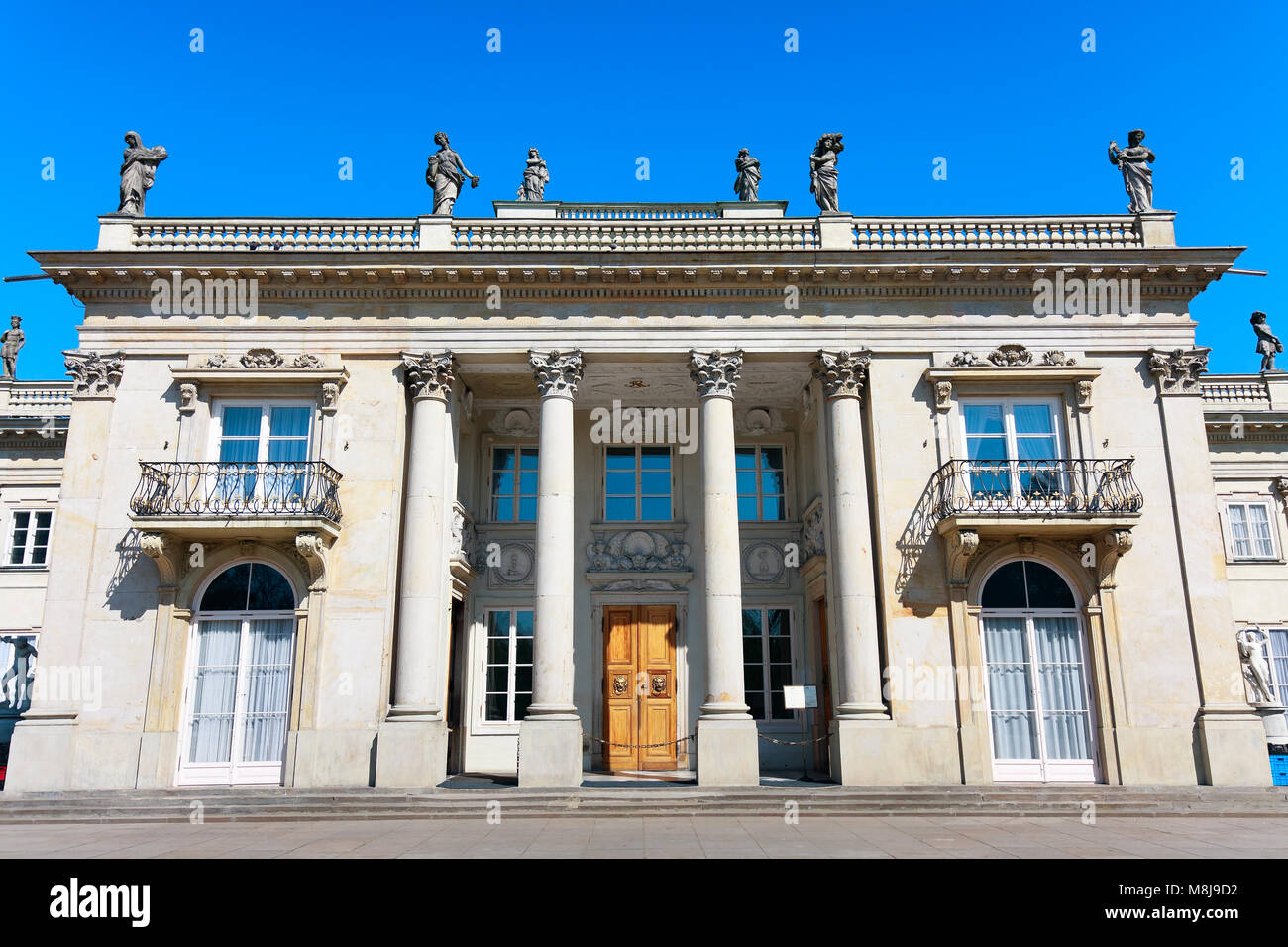 Neoclassical Palace on the Water  in  Royal Baths Park, the major tourist attraction of  WARSAW CITY, POLAND - APRIL - Stock Image