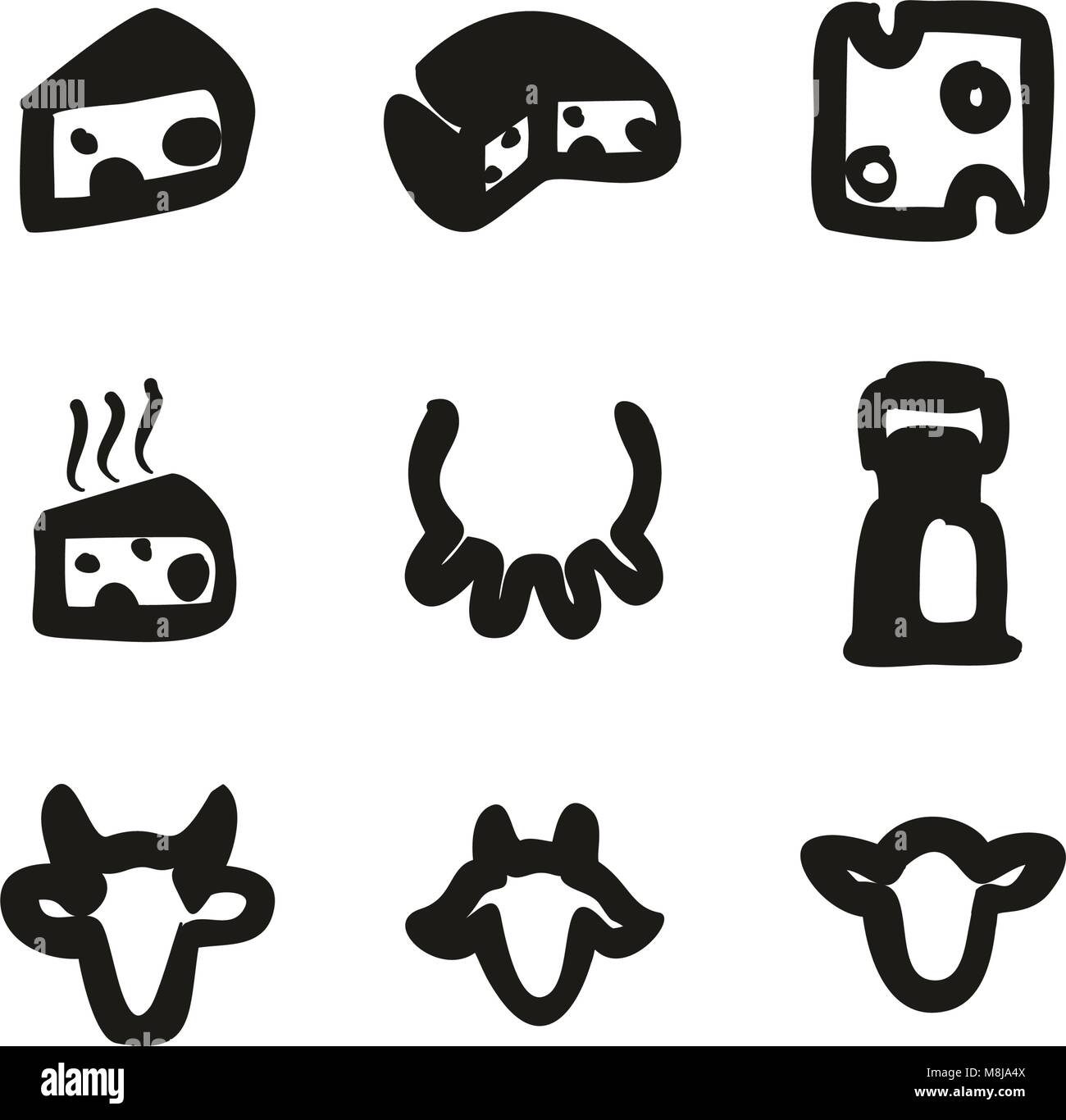 Cheese Icons Freehand Fill - Stock Vector