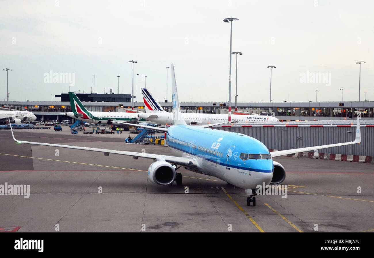 Amsterdam Airport, Netherlands - September 4th, 2017: View of Amsterdam Airport and with KLM planes waiting - Stock Image