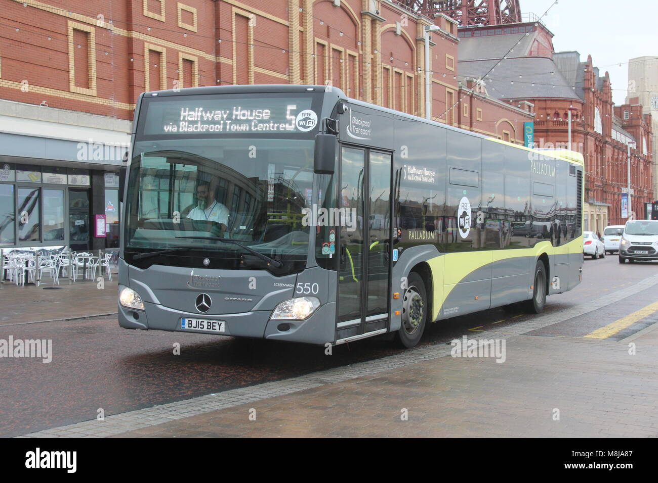 A NEARSIDE FRONT VIEW OF A MECEDES-BENZ CITARO BUS OF VLACKPOOL TRANSPORT - Stock Image