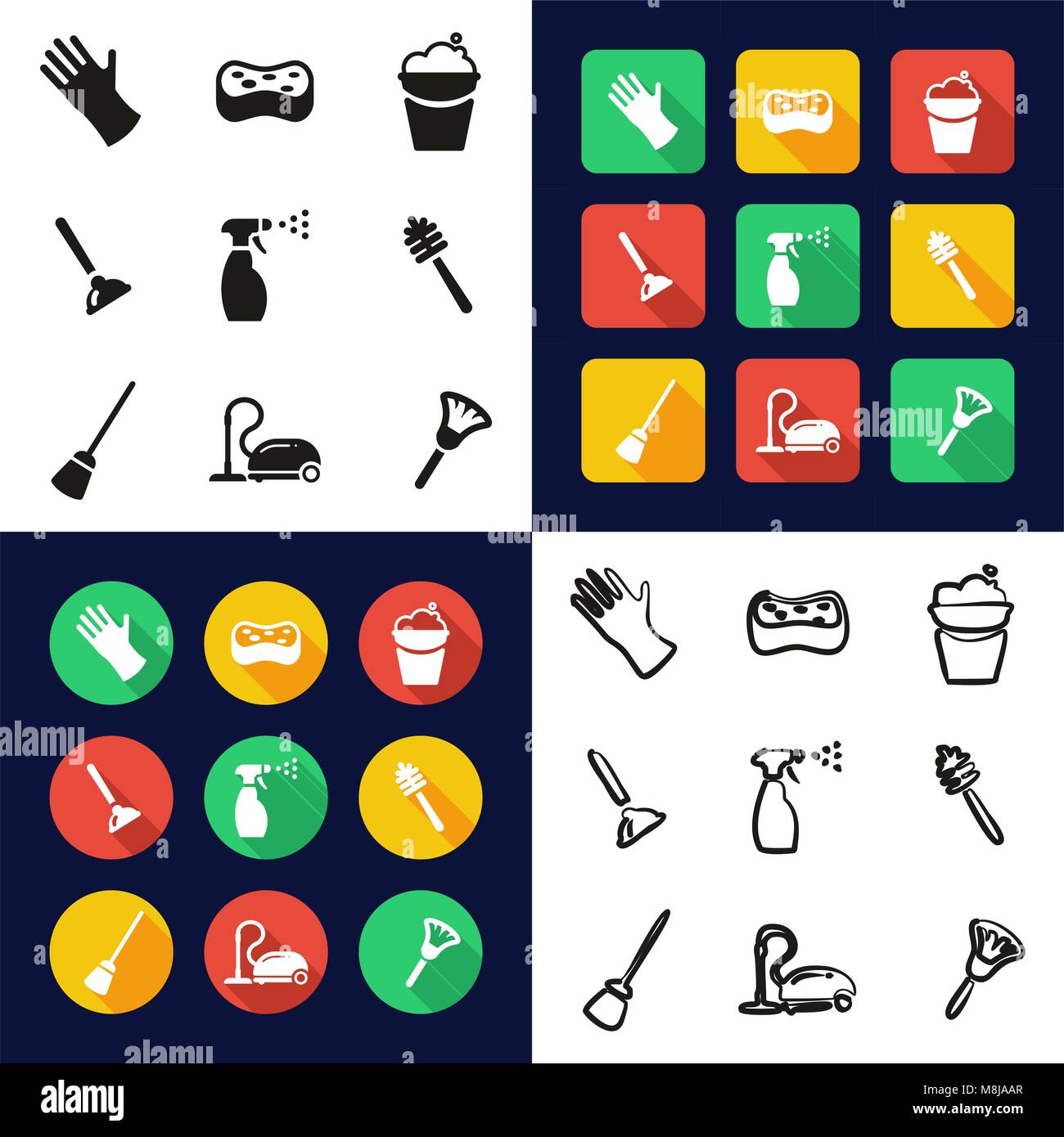 Cleaning All in One Icons Black & White Color Flat Design Freehand Set - Stock Vector
