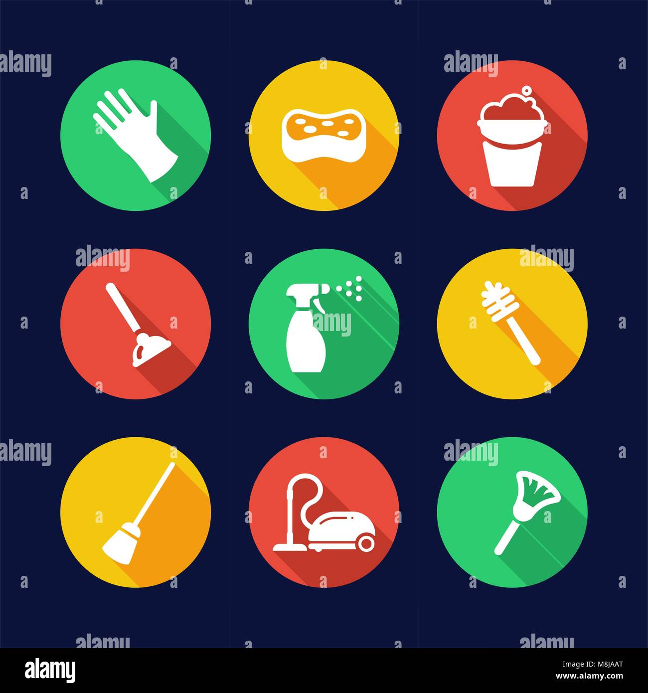 Cleaning Icons Flat Design Circle - Stock Vector