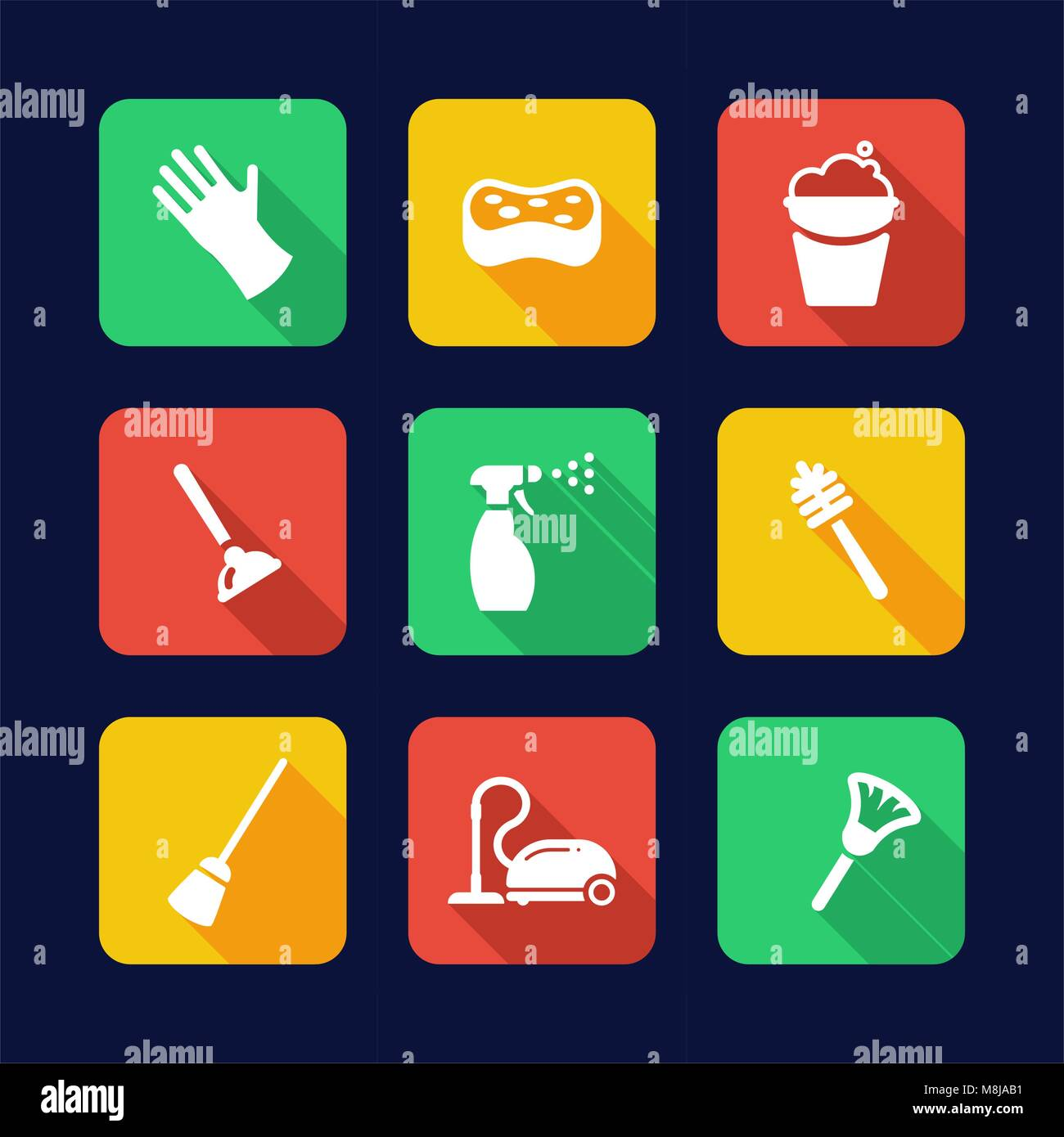 Cleaning Icons Flat Design - Stock Vector