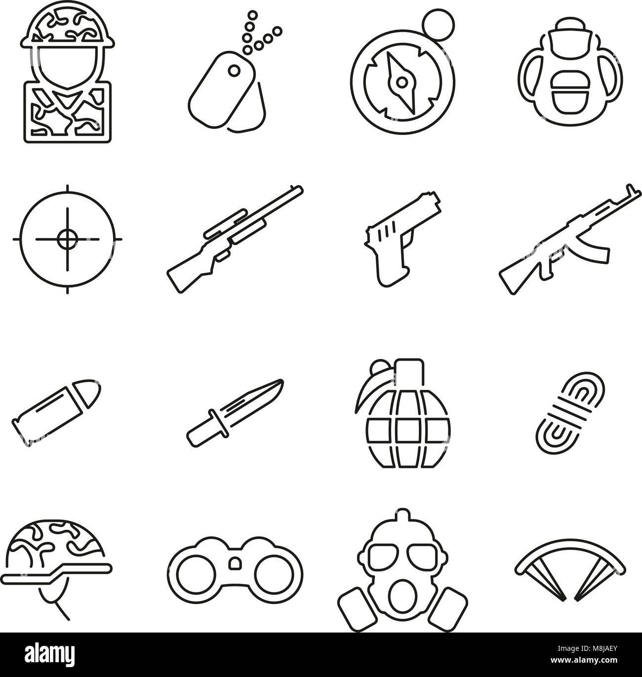 Commandos or Special Forces Army Unit Icons Thin Line Vector Illustration Set - Stock Vector