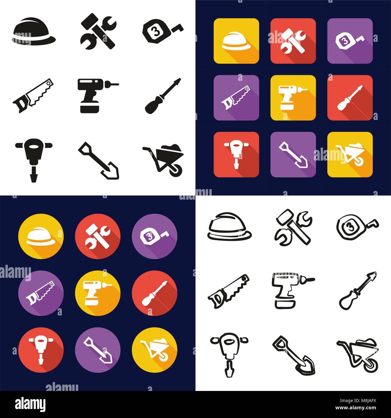 Icon Saw Hammer Symbol Equipment Stock Photos Icon Saw Hammer