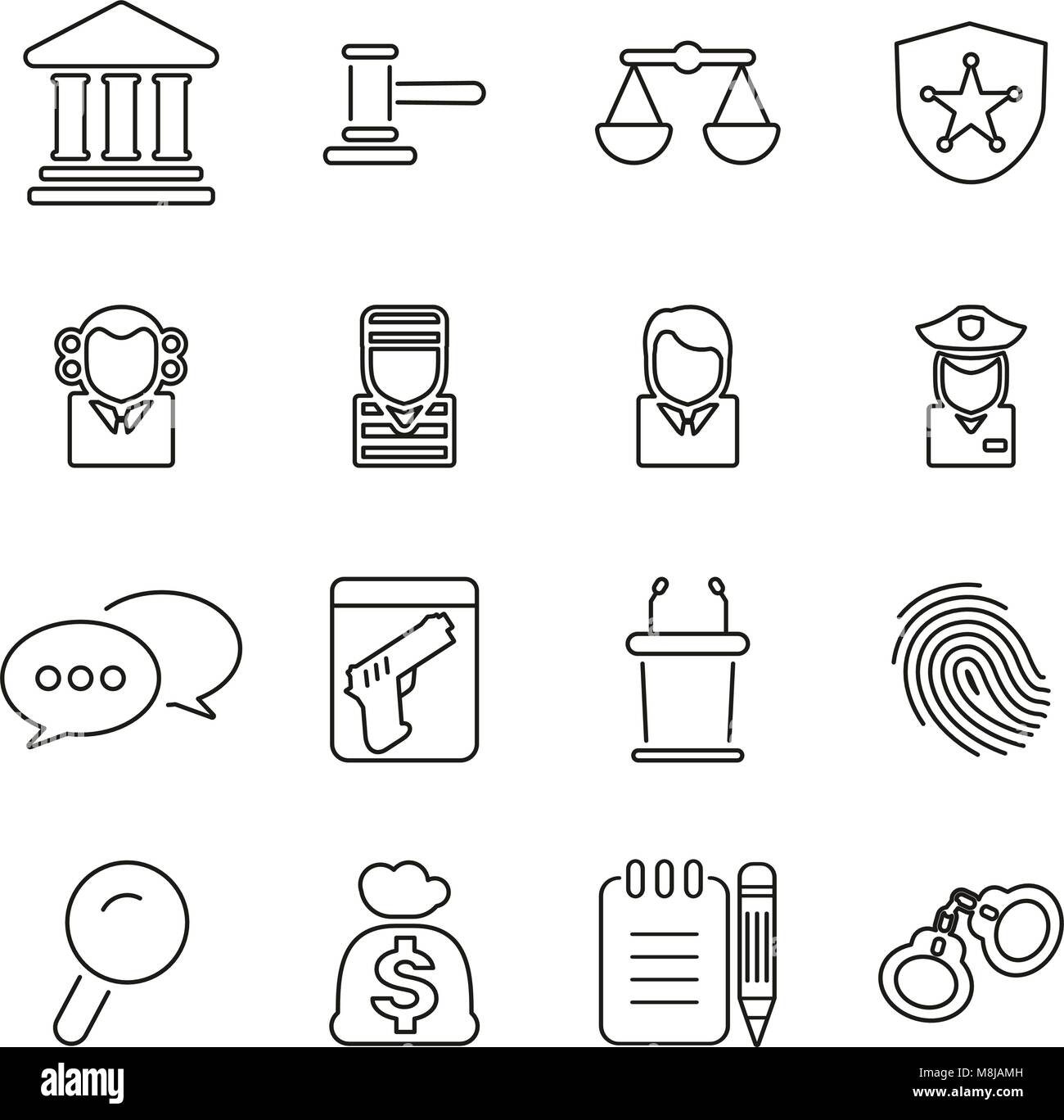 Courthouse Trial or Court of Justice Icons Thin Line Vector Illustration Set - Stock Vector