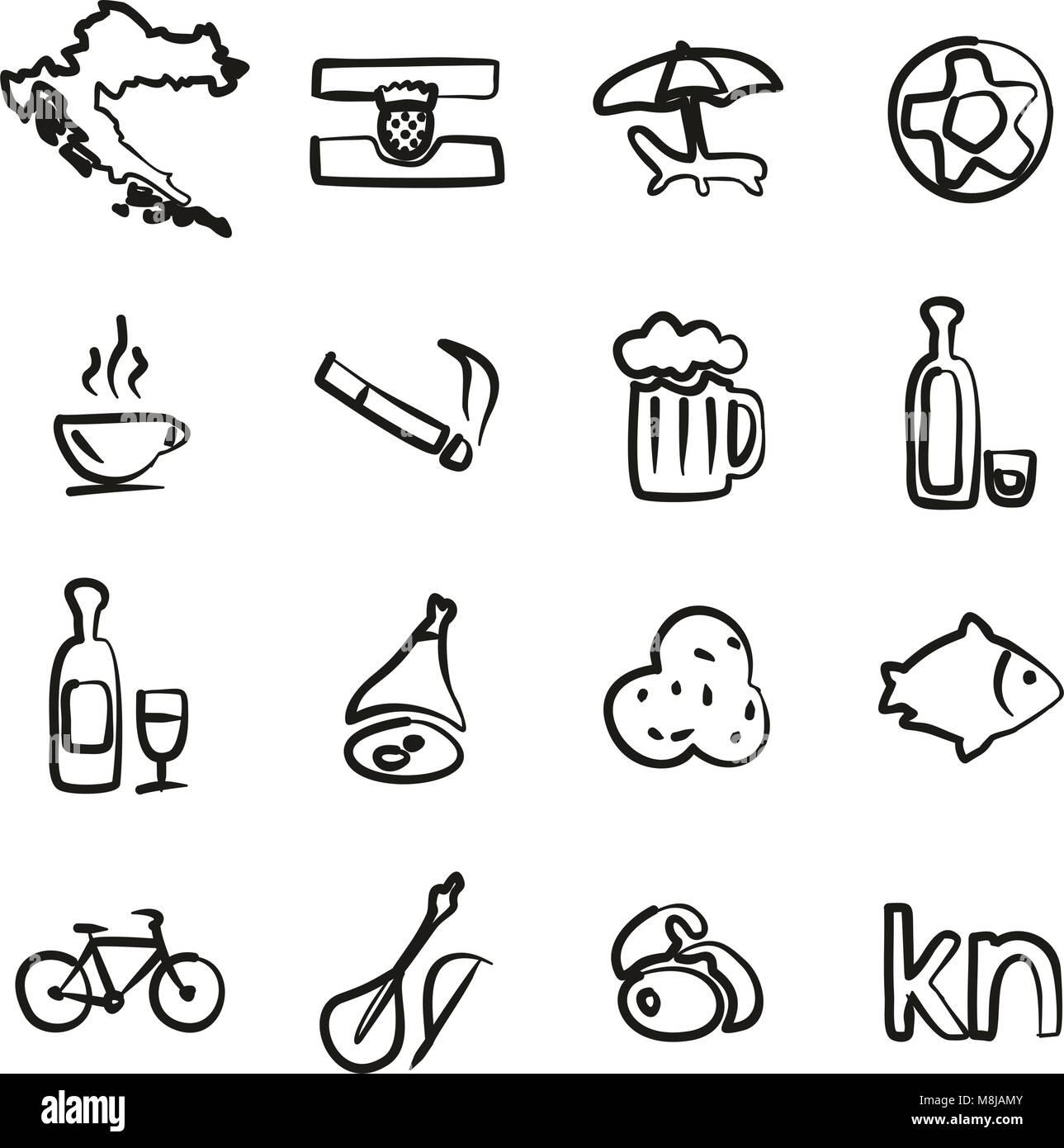 Croatia Icons Freehand - Stock Image