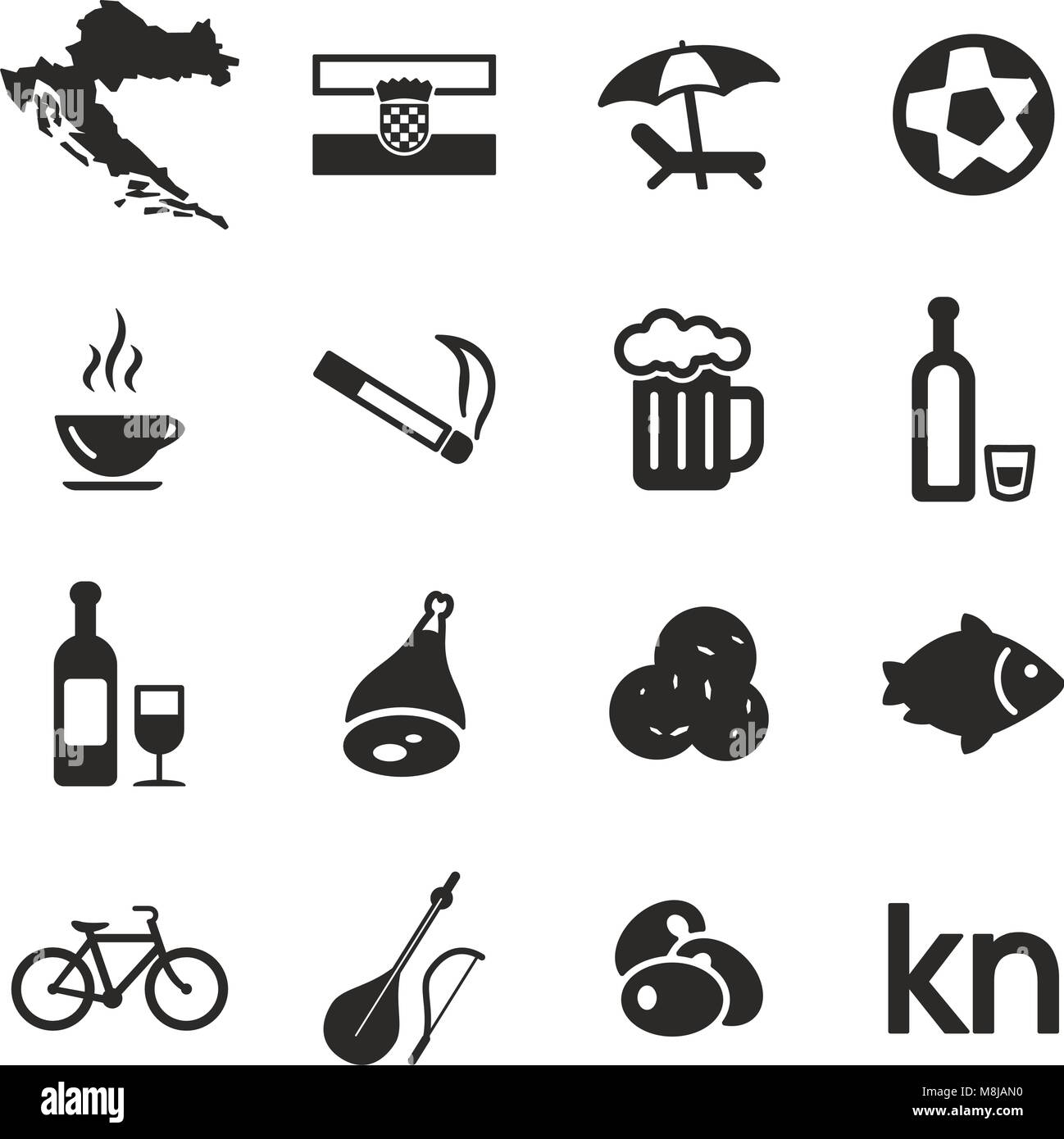 Croatia Icons - Stock Image