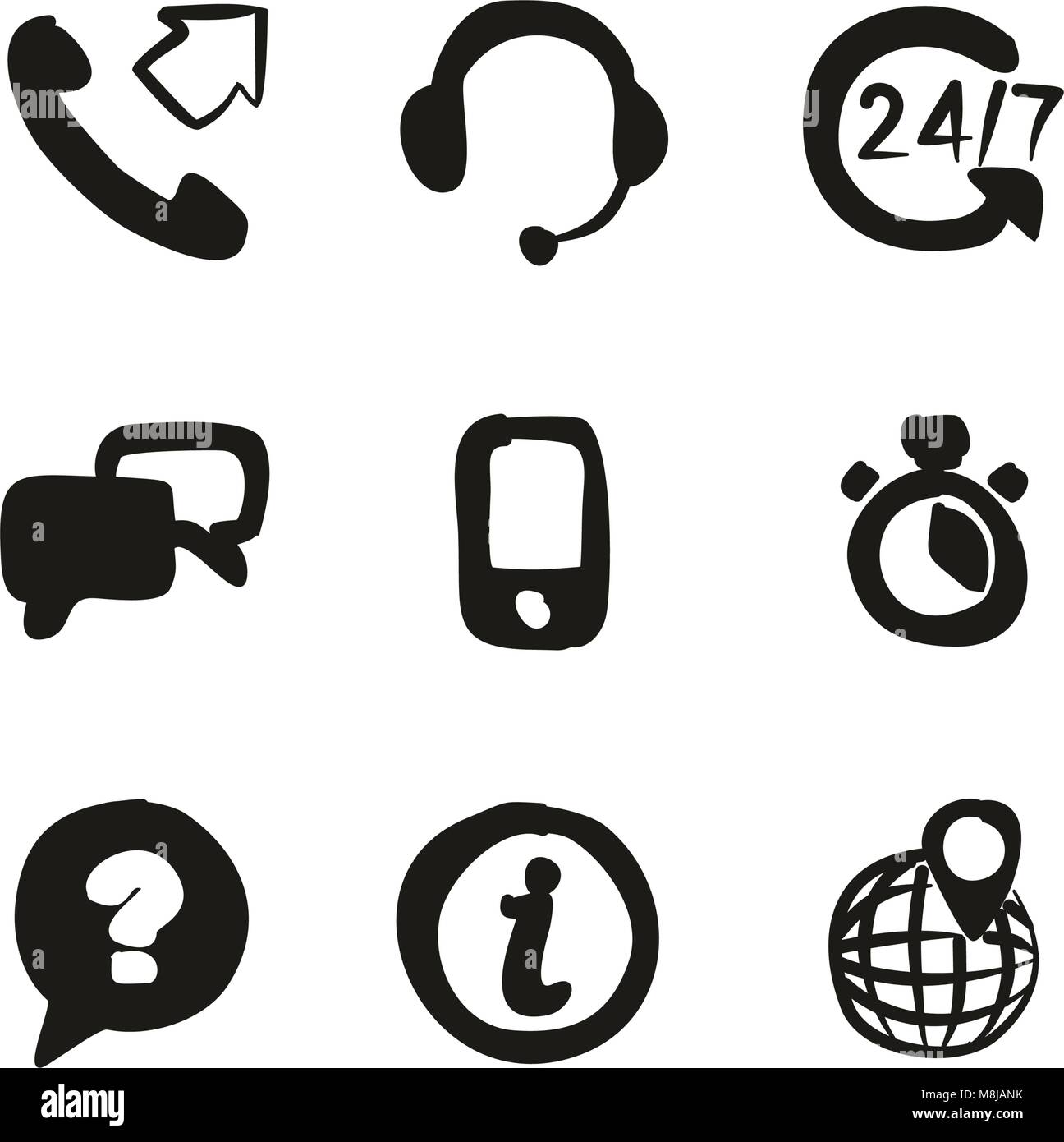 Customer Service Icons Freehand Fill - Stock Vector
