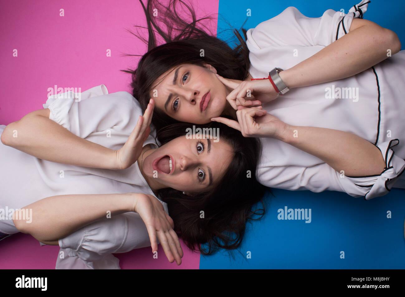 best friends crazy fun face grimace - Stock Image