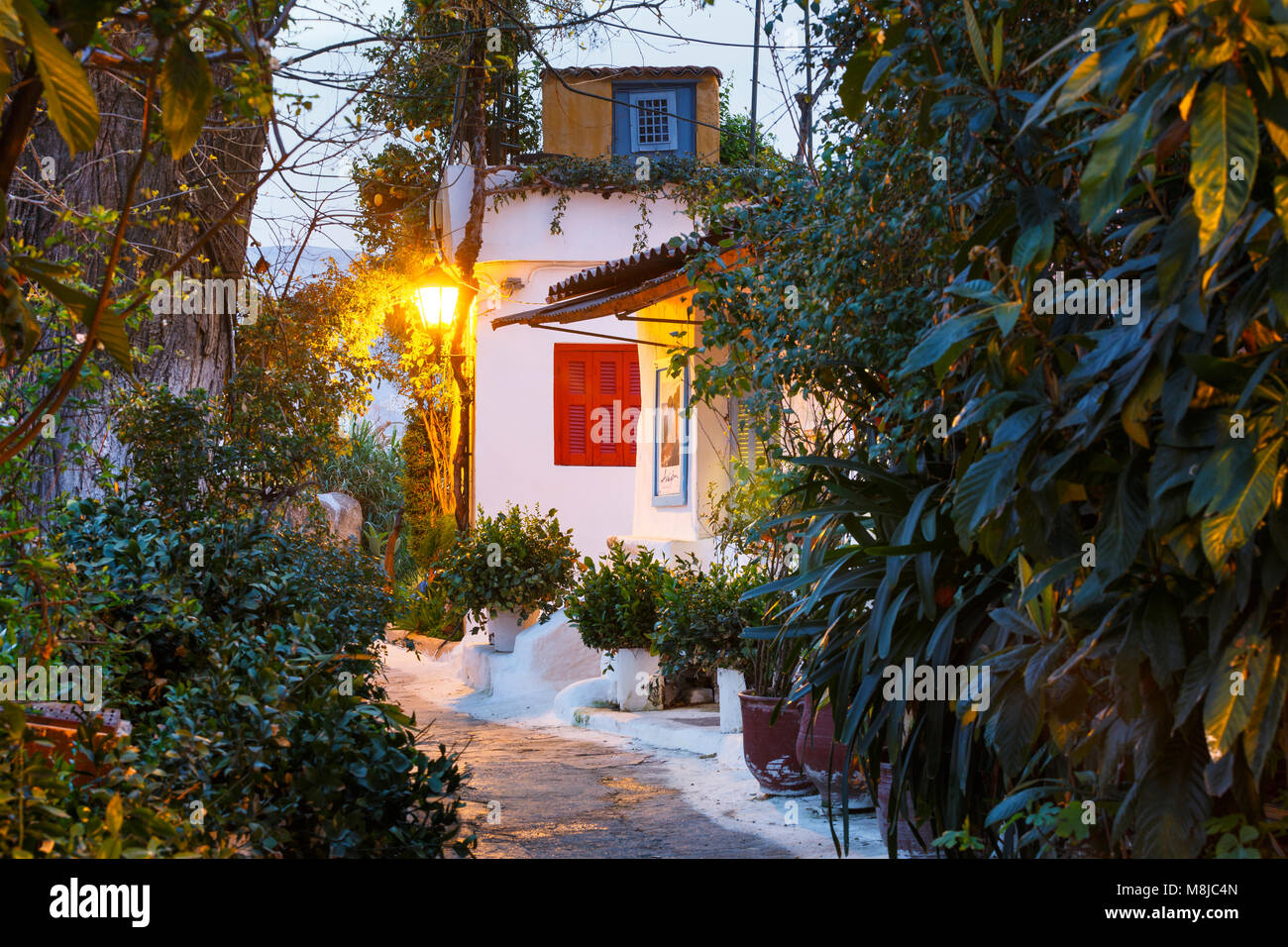 Anafiotika neighborhood in the old town of Athens, Greece. - Stock Image