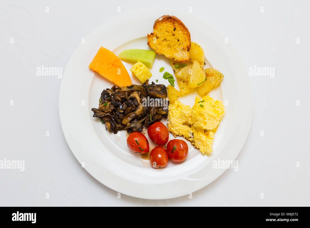 Flat Lay Top View Breakfast Brunch mixed plate at Spring Festival picnic event - Stock Image
