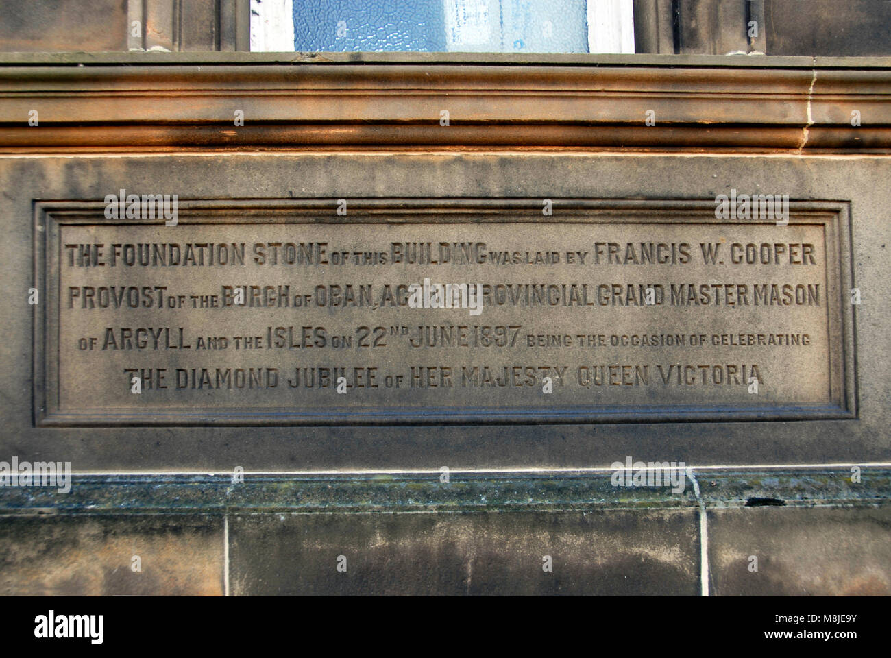 Foundation stone on building in Oban, Scotland, celebrating the diamond jubilee of Queen Victoria - Stock Image