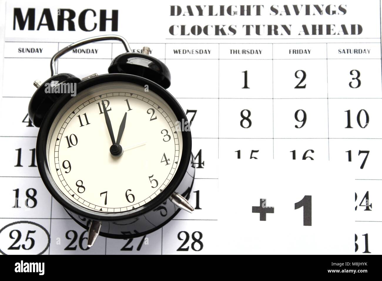 Daylight Savings Spring Forward sunday at 1:00 a.m. March 25 date indicated in the calendar. - Stock Image
