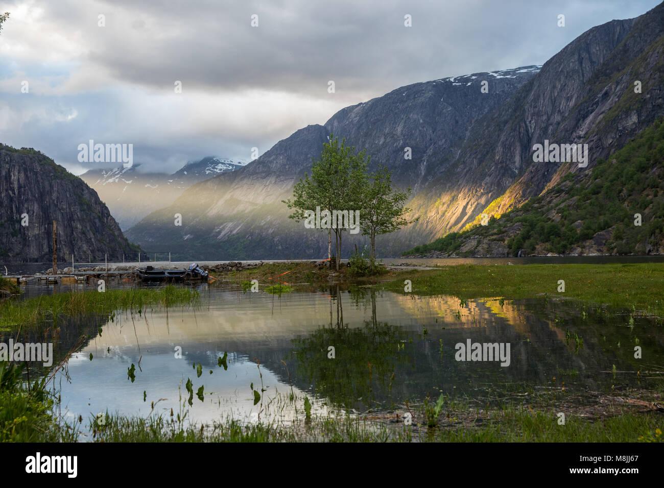 Sunset am Eidfjord - Stock Image