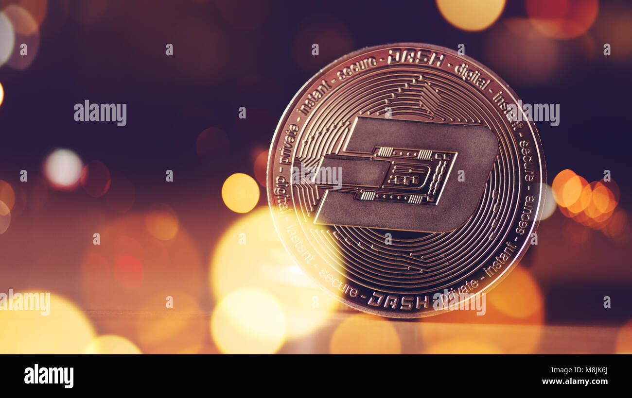 Dash cryptocurrency, blockchain technology decentralized currency coin, conceptual image with selective focus - Stock Image