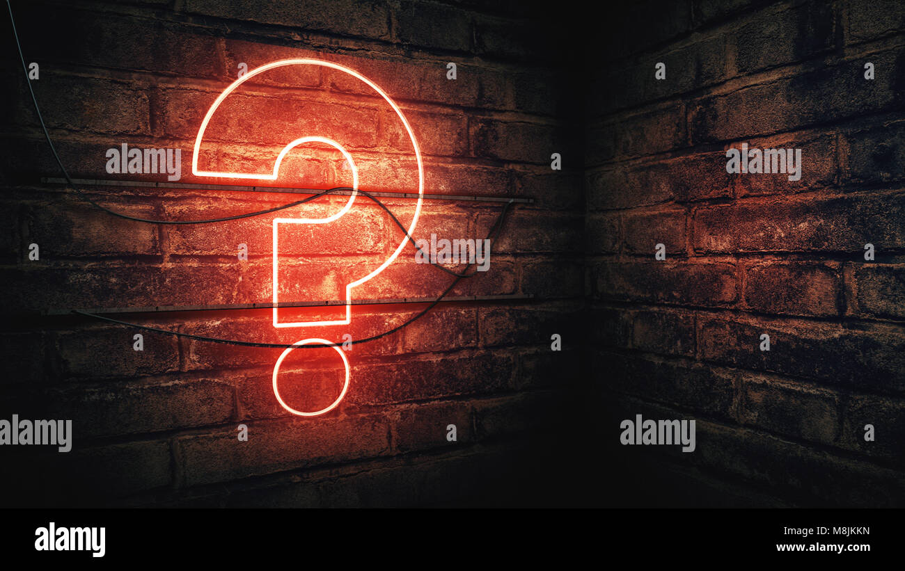 Question mark neon sign on brick wall, conceptual 3d rendering illustration for test, exam and looking for answers - Stock Image
