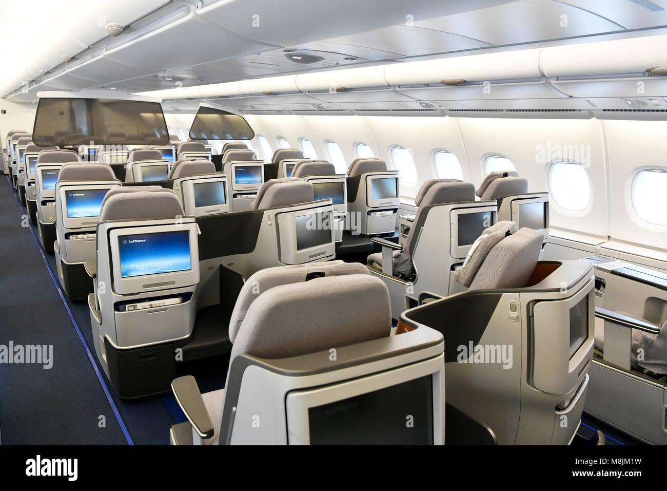 displays seats lufthansa airbus a380 800 emergency exit sleep stock photo 177431797 alamy. Black Bedroom Furniture Sets. Home Design Ideas