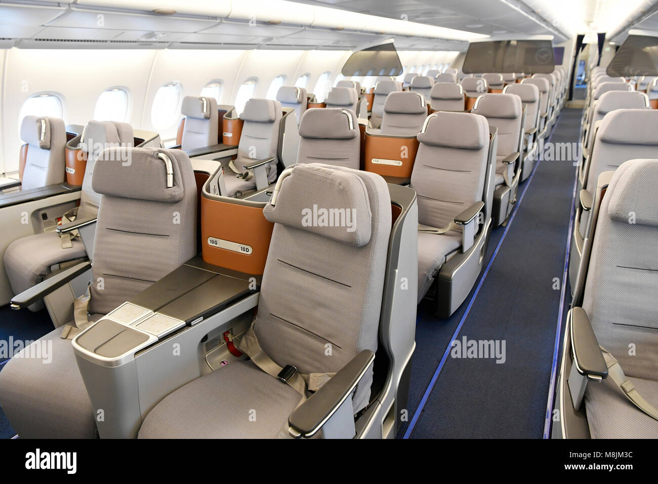 displays seats lufthansa airbus a380 800 emergency exit sleep stock photo 177431840 alamy. Black Bedroom Furniture Sets. Home Design Ideas
