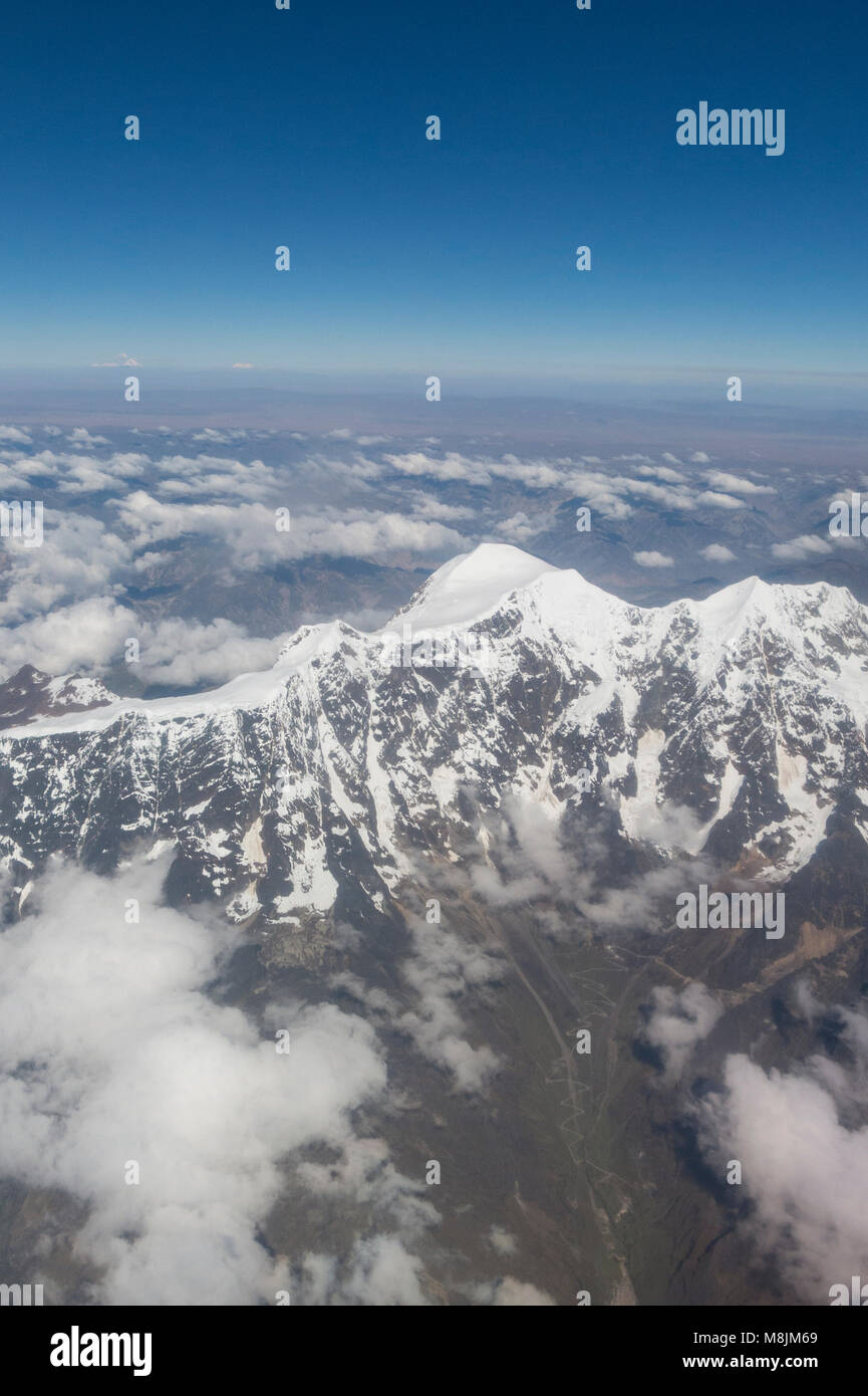 Aerial view of Huayna Potosi. The Cordillera Real is a mountain range in the South American Altiplano of Bolivia. - Stock Image