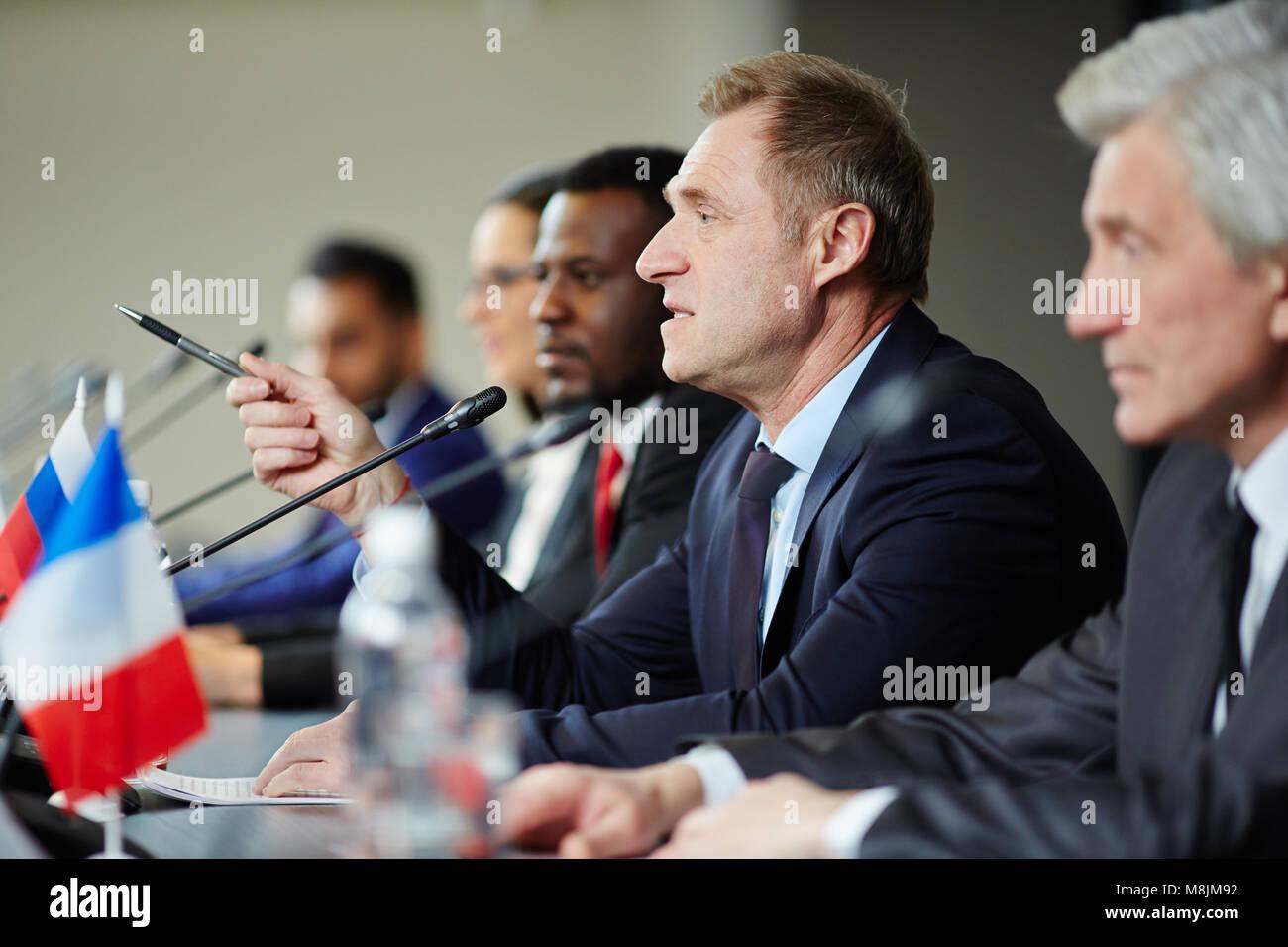 Politician speaking - Stock Image