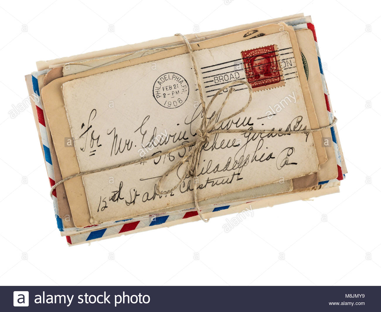 old love letters on a bunch remember the great love long ago stock