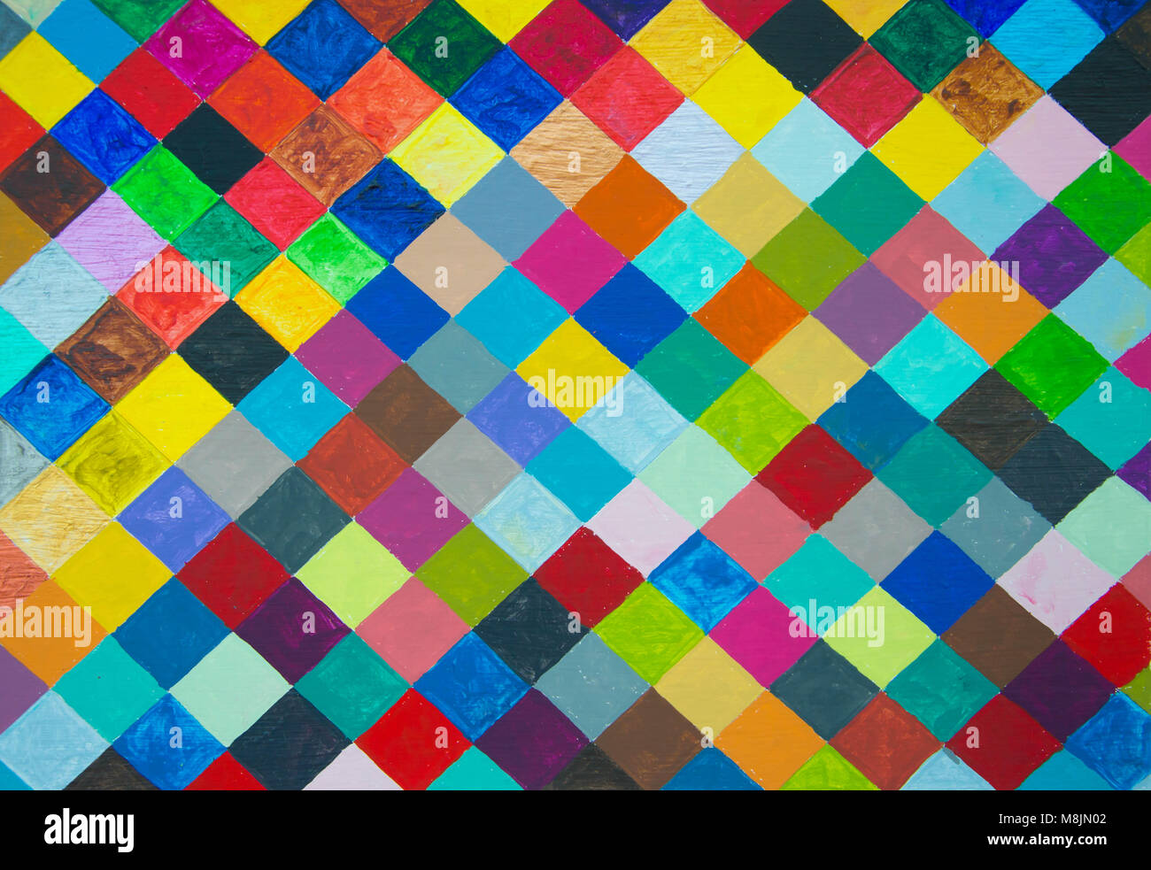 Hand painted colourful diamond pattern Stock Photo