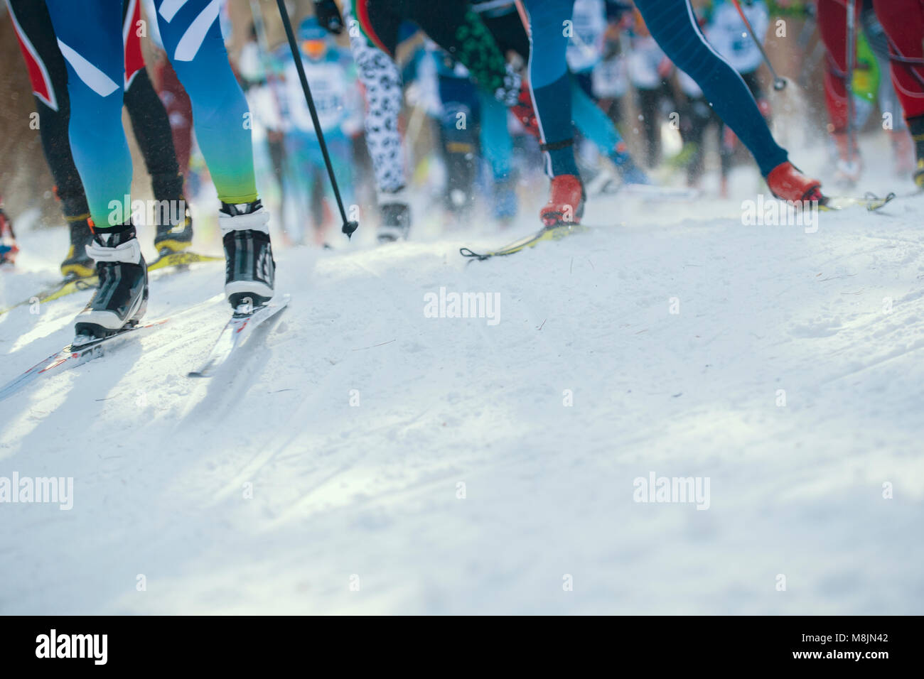 Ski marathon - de-focused view of many legs of sportsmen running on snow - Stock Image