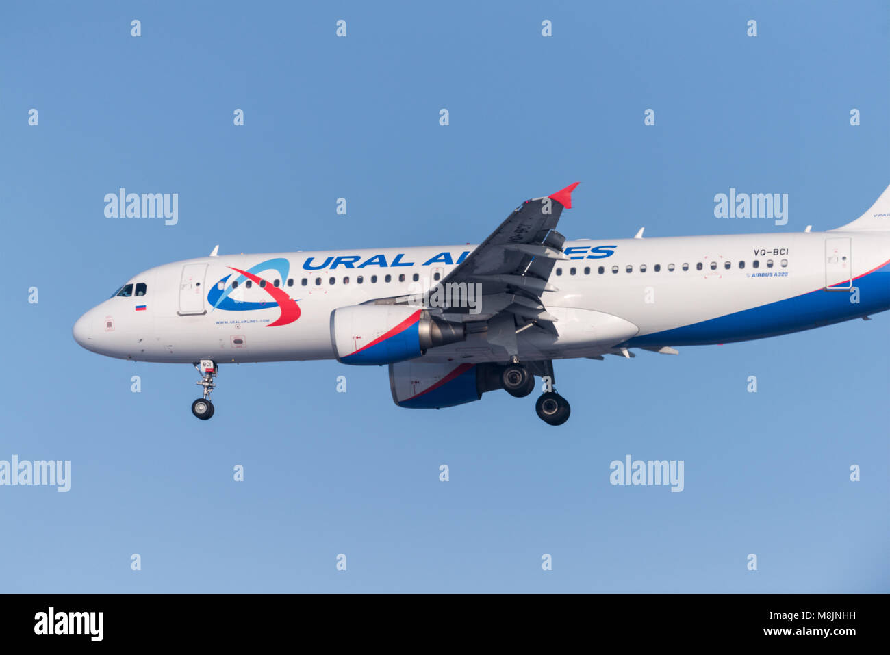 Novosibirsk, Russia - February 18, 2018: Airbus A320-214 VQ-BCI Ural Airliners before landing at the international - Stock Image