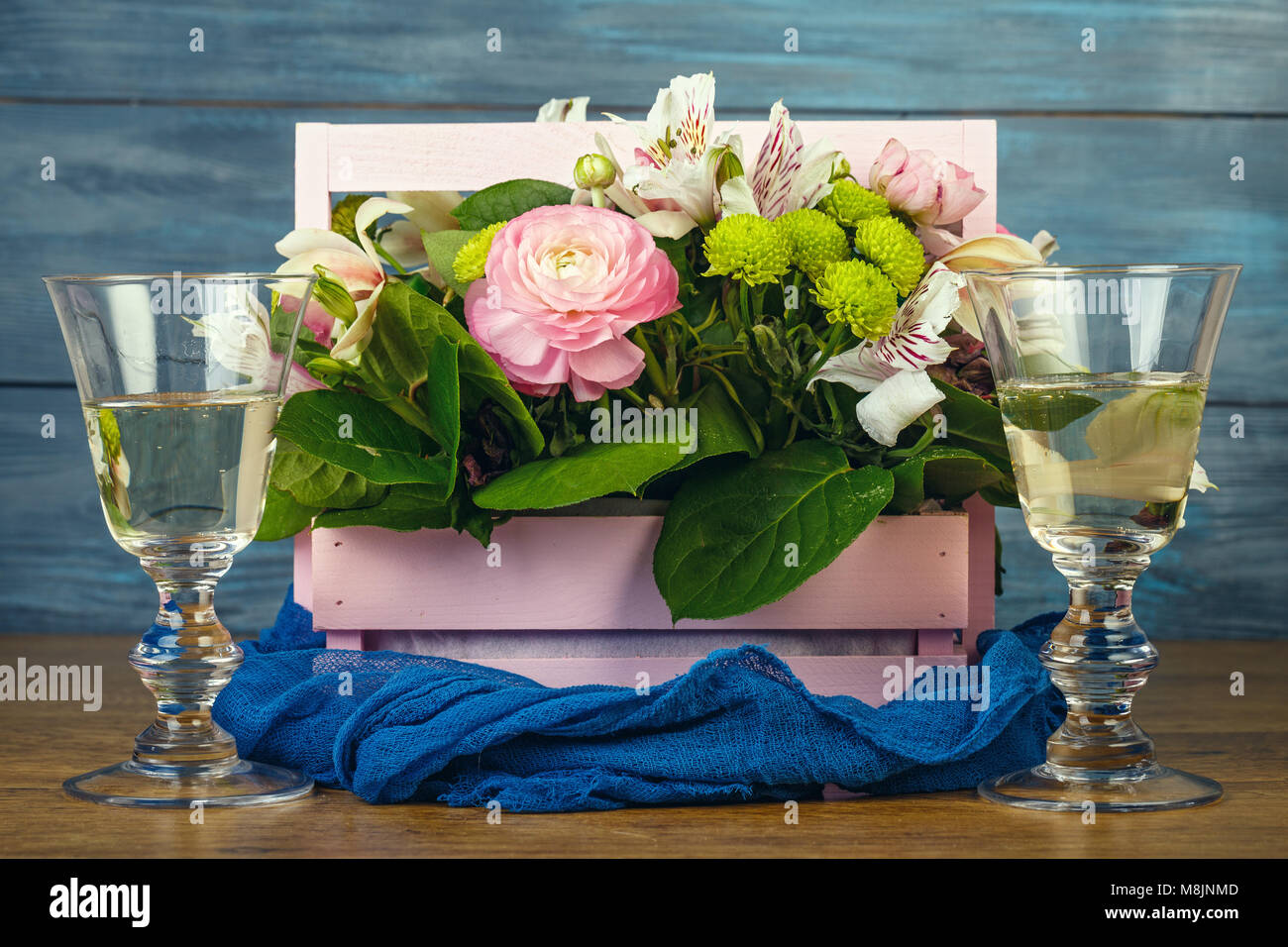Arrangement With Flowers In A Pink Wooden Box And Wine Stock Photo Alamy