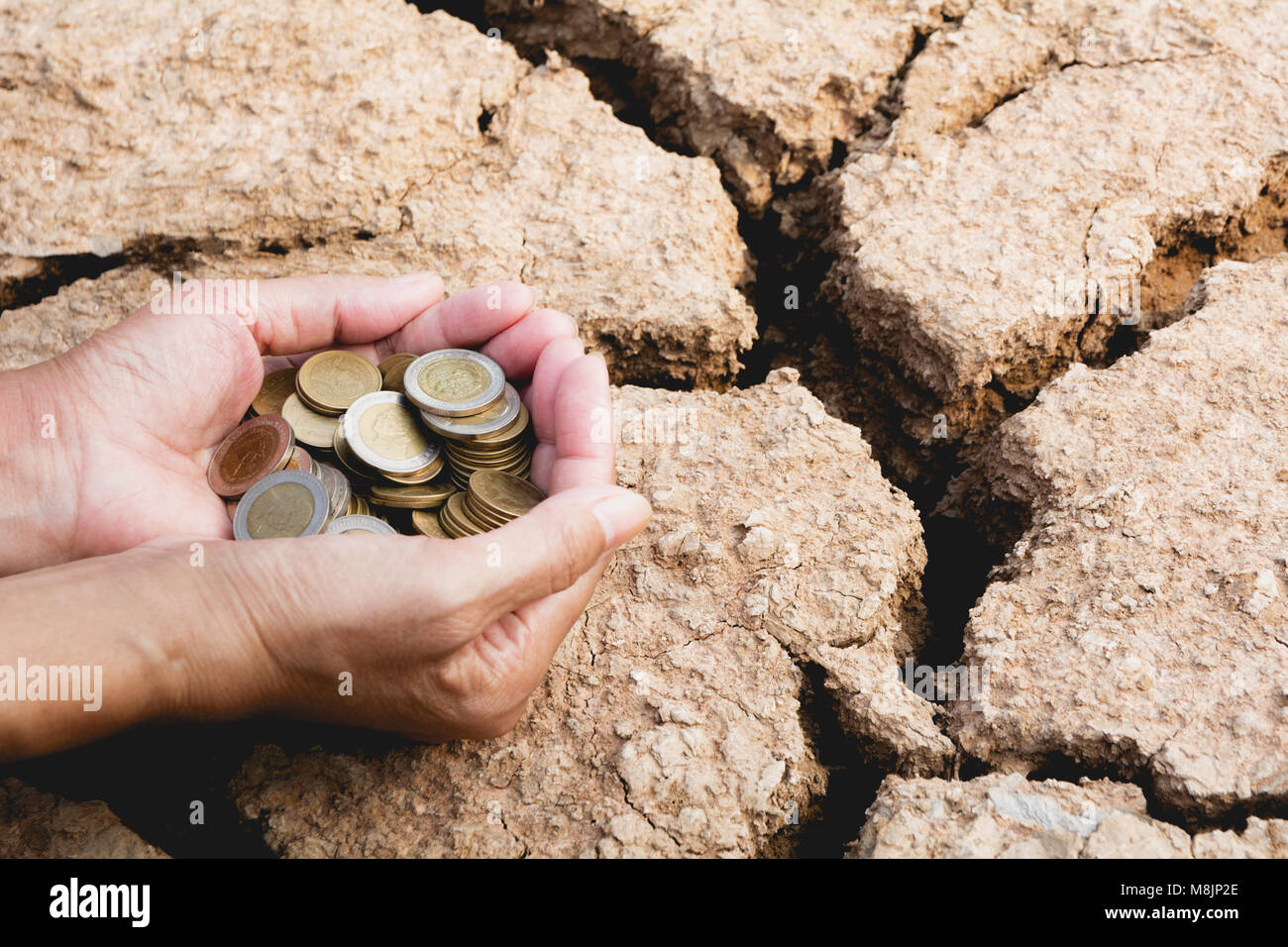Hand holding coins money in hand on drought area background. Financial, accounting and saving concept. - Stock Image