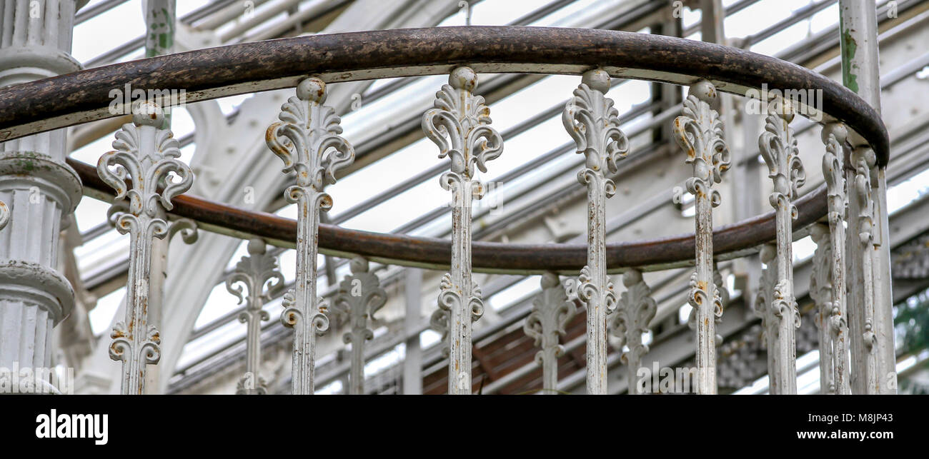 A wrought iron spiral staircase's handrail leads visitors upto a walkway above palm crowns in Kew Garden's - Stock Image