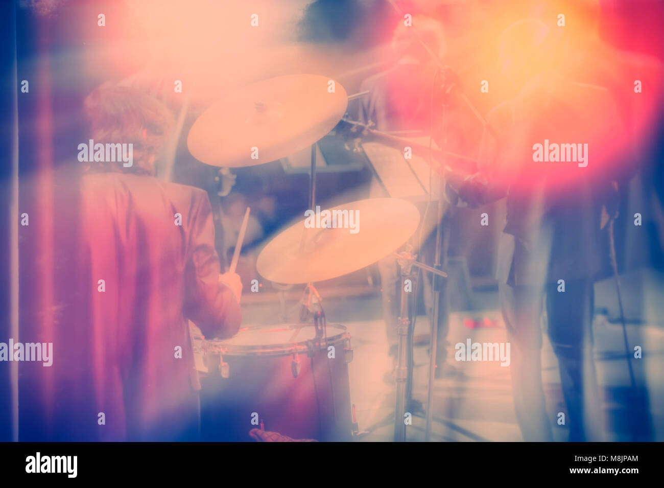 Drum Set Music And Jazz Band Concept A Musician Playing With Stock