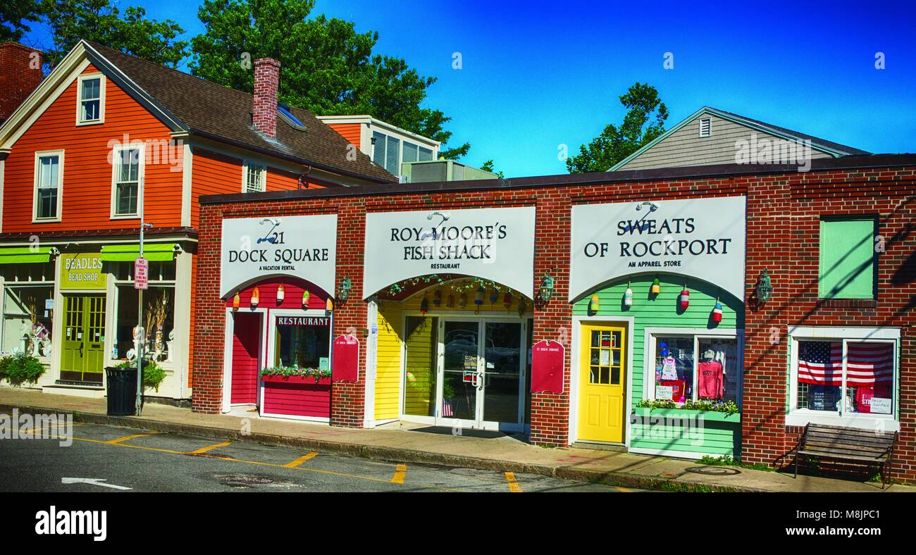Lines of small shops in a small town of Rockport, MA - Stock Image