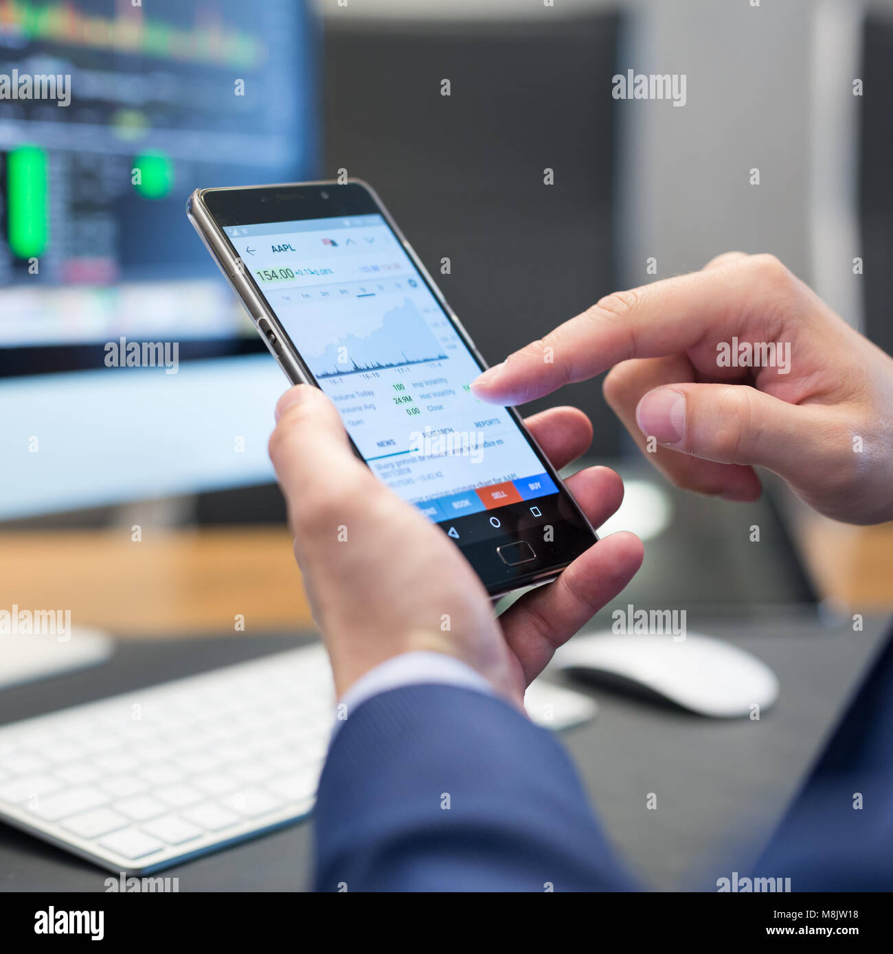 Close up of businessman using mobile smart phone. - Stock Image