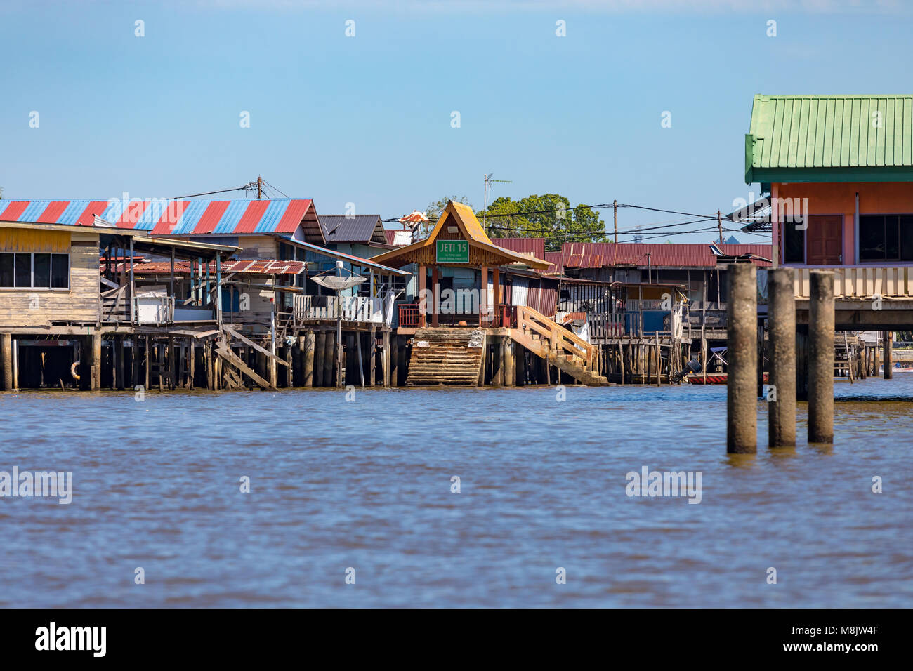 Brunei Darussalam Bandar Seri  March 17, 2018 BegawanWater taxis on the Brunei river, in and around Kampong Ayer, - Stock Image