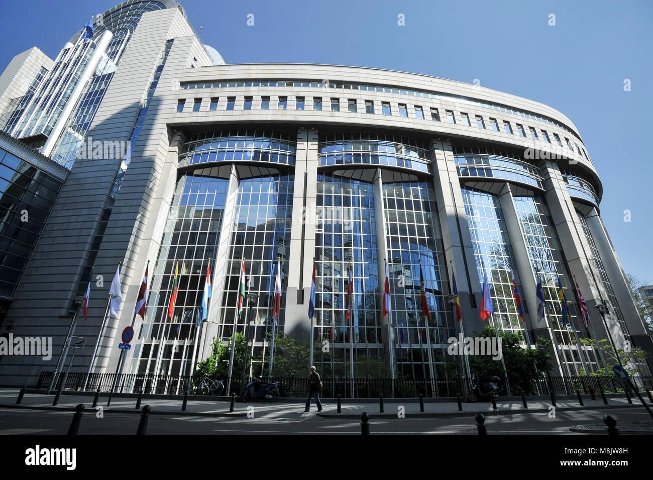 Paul-Henri Spaak building of the European Parliament seat in Espace Leopold / Leopoldruimte in European Quarter - Stock Image