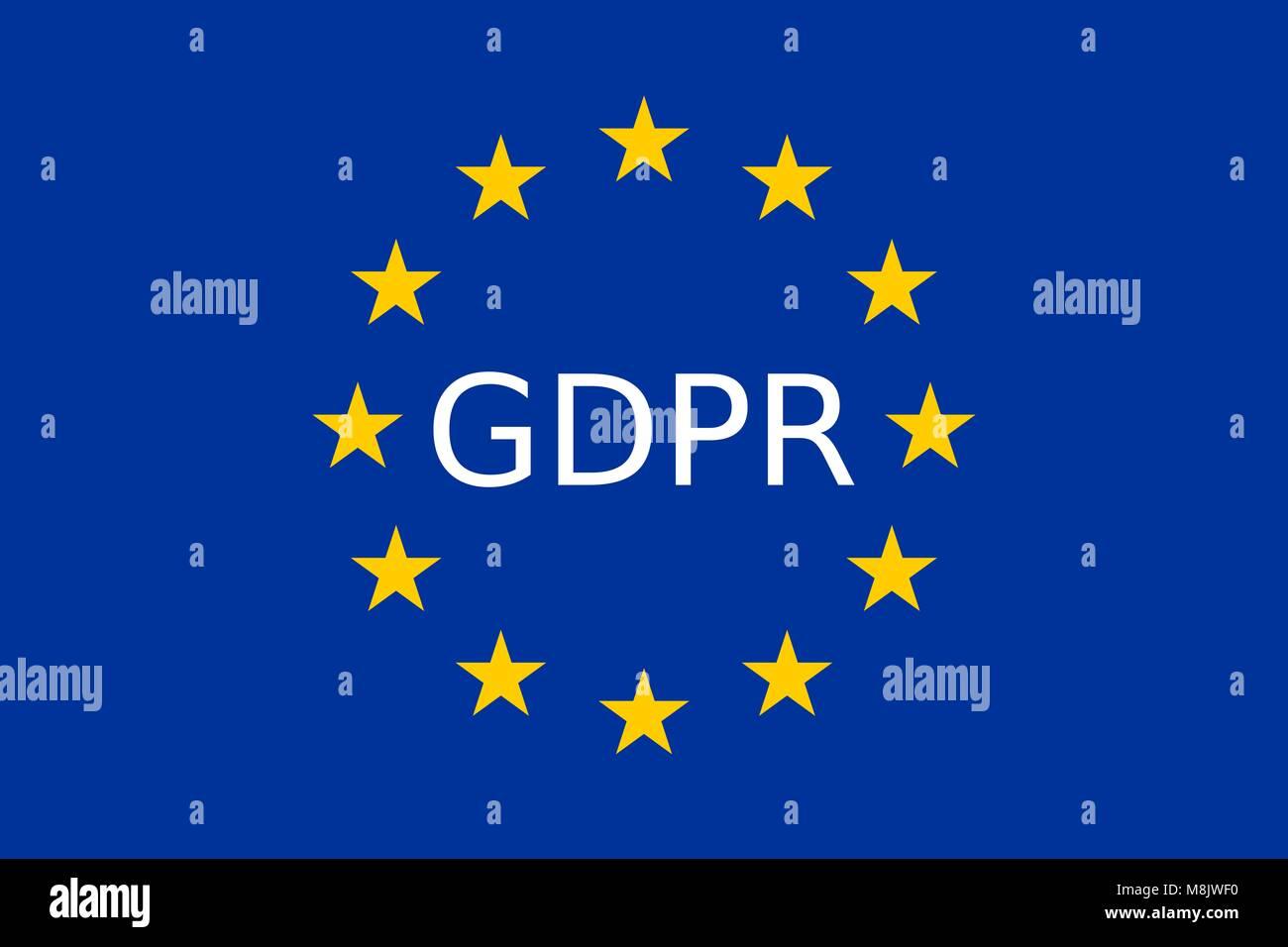 GDPR European Union Data Security Law EU Flag - Stock Image