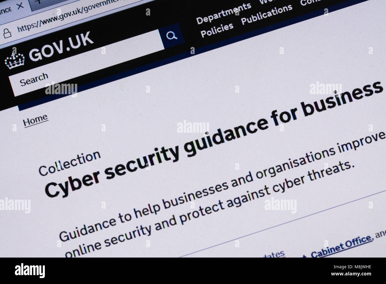 Computer screenshot showing information about cyber security on gov.uk website - Stock Image